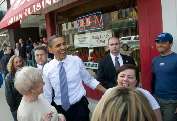 image source: cryptome.org. US President Barack Obama greets locals outside after visiting the Prairie Lights Bookstore during an unscheduled stop