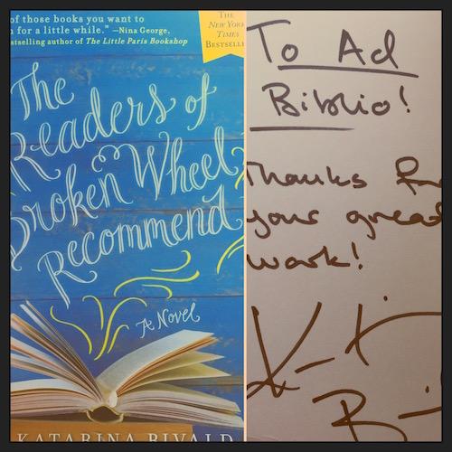 AdBiblio's treasured SIGNED COPY of The Readers of Broken Wheel Recommend!