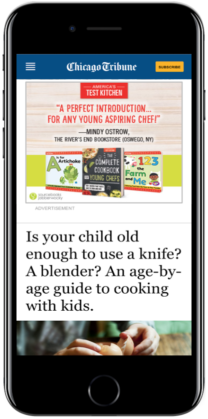 Complete Cookbook for Young Chefs - Proximity Ad Screenshot on Chicago Tribune