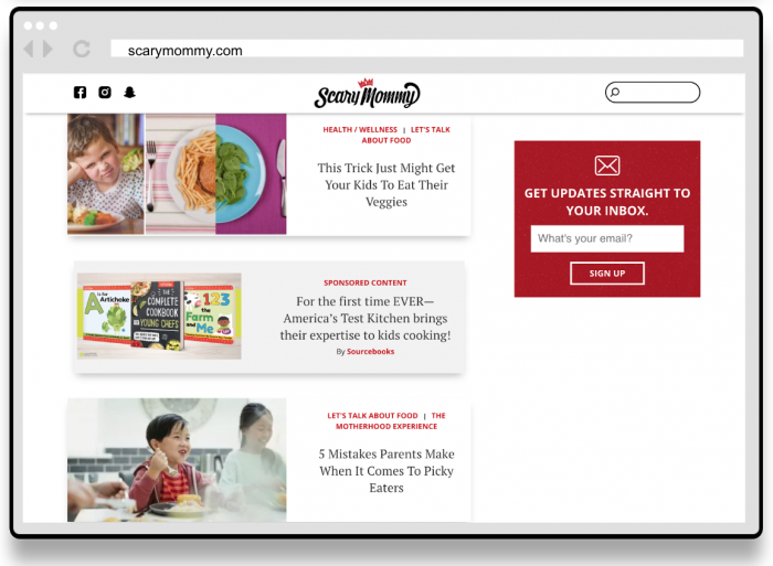 Complete Cookbook for Young Chefs - Native Ad Screenshot on Scary Mommy