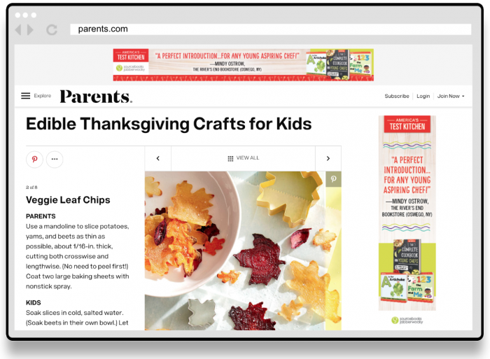 Complete Cookbook for Young Chefs - Banner Ad Screenshot on Parents