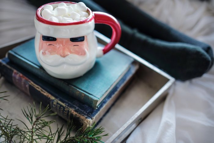 image of santa mug on top of book stack